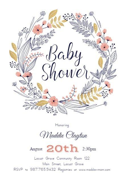 friendship wreath baby shower invitation template