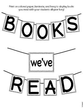 Books We've Read Banner & Book Log by All the Learners | TpT