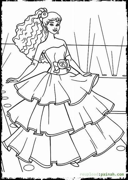 Coloring Pages Dresses Barbie Drawing Printable Frock