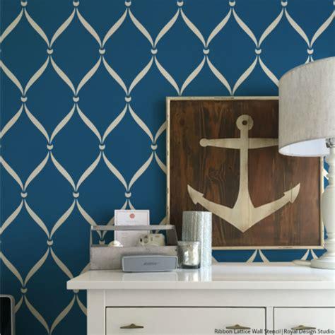 ribbon lattice wall stencils  decorating home decor