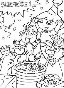 dora the explorer coloring pages printable - dora the explorer boots benny isa surprise birthday cake