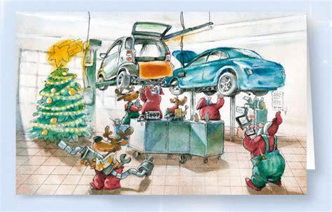 weihnachtskarte branchenkarte kfz werkstatt mit hebebuehne