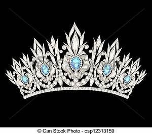 Clipart Vector of tiara crown women's wedding with a light