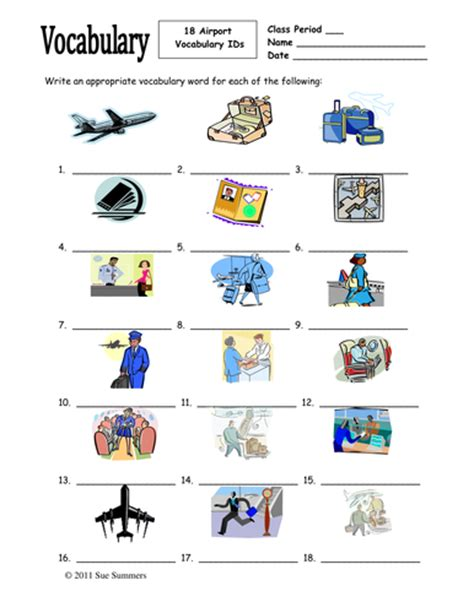 airport vocabulary 18 ids worksheet for any language by suzlkaj teaching resources tes