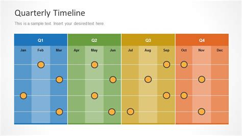 colorful quarterly timeline  design  months