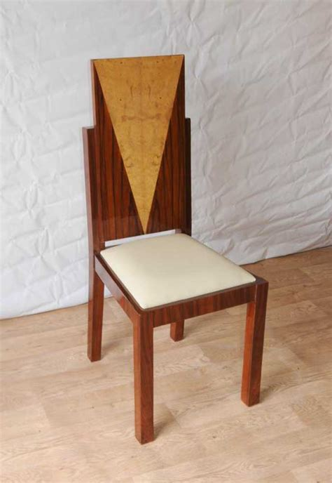 8 deco dining chairs inlay diners furniture 1920s vintage