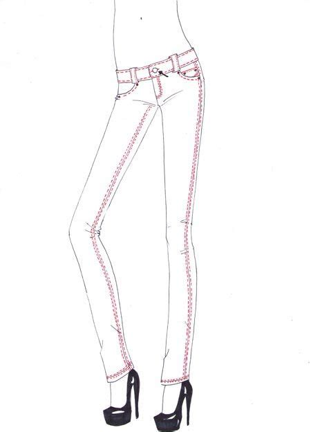 drawing skinny jeans tutorial step  step add stitches