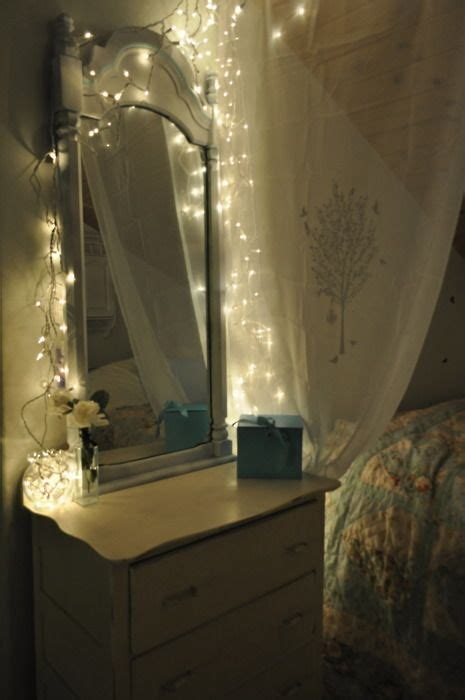 bedroom mirrors with lights around them soft lighting with mini white christmas lights behind 20275 | 441c79f8fac60b1676ceb1e079190b0e