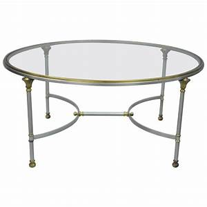 vintage italian brushed steel and brass round directoire With brushed brass coffee table