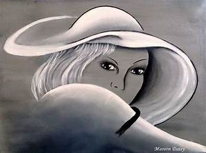 Peinture En Noir Et Blanc : tableau peinture chapeau portrait visage noir et blanc abby peinture portrait pinterest ~ Melissatoandfro.com Idées de Décoration