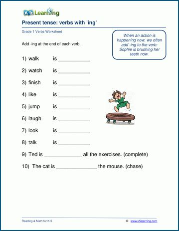 verbs ending in quot ing quot worksheet k5 learning