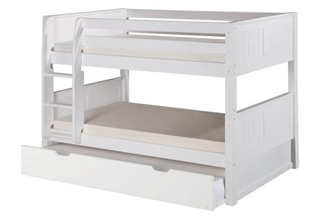 White Low Loft Bed With Desk by Low Bunk Bed With Trundle Panel Headboard White