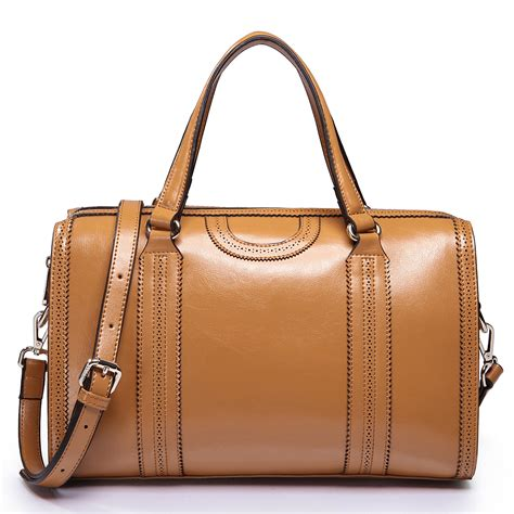 Cowhide Leather Women Bags Camel