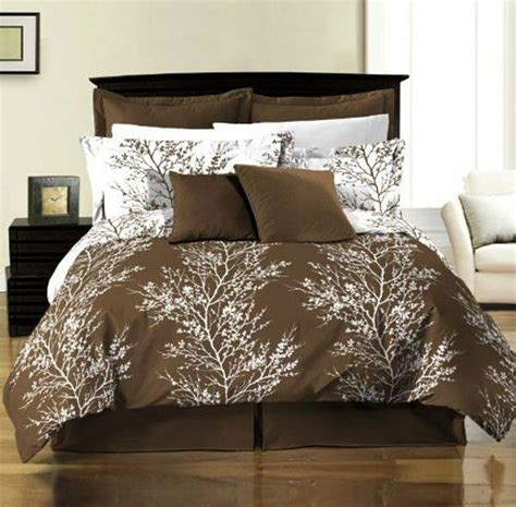 8 piece reversible brown white tree branches comforter with sheet king ebay