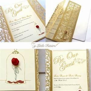 invitaciones para tus quinces que te convertiran en una With beauty and the beast be our guest wedding invitations