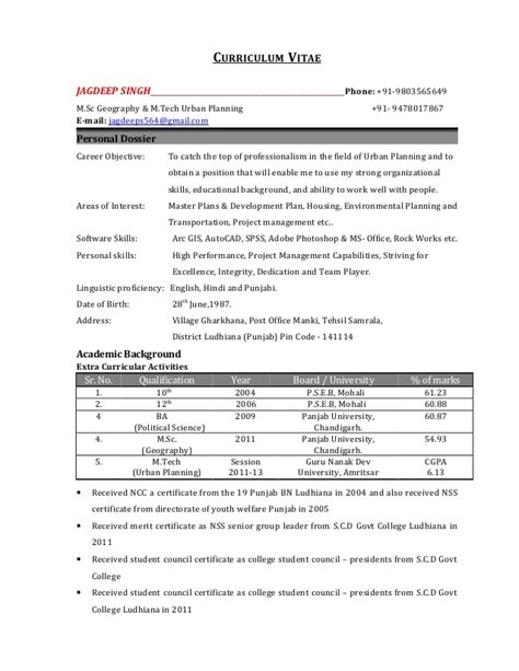 Town Planner Cv by Jagdeep Resume
