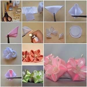 How to make Round Petals Ribbon Flower DIY tutorial