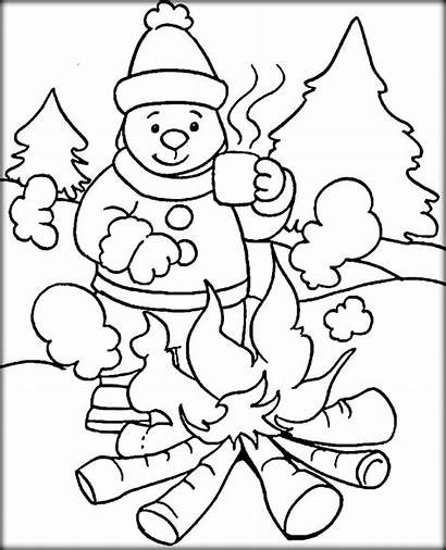 Coloring Winter Pages Weather Kindergarten Season Drawing