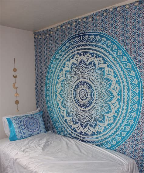 cheap paintings for sale blue multi indian ombre mandala wall tapestry hippie