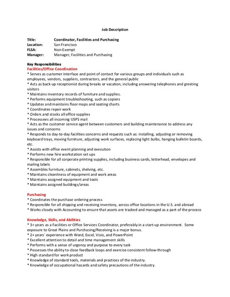 Facilities Coordinator Resume Cover Letter by Facilities Coordinator Descprition