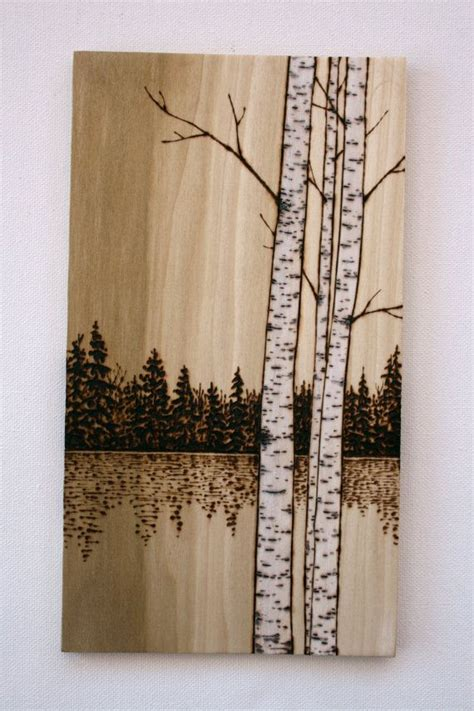 birch trees art  wood wood burning  twigsandblossoms