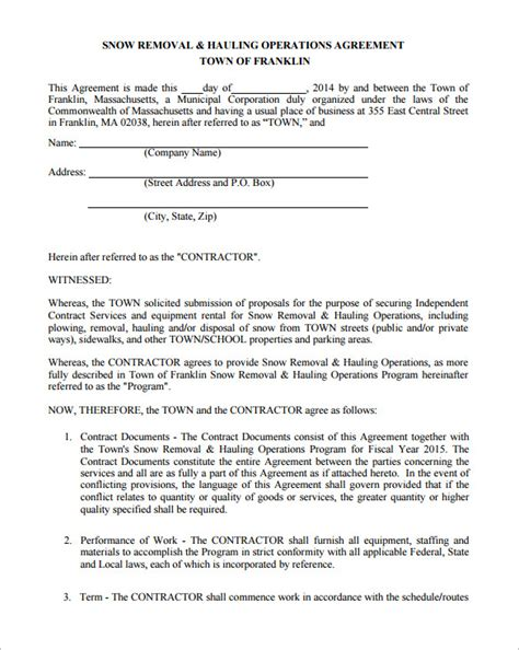 Snow Removal Contract Template Free by Snow Plowing Contract Template 20 Free Word Pdf