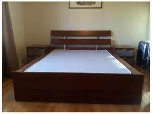 ikea double hopen bed frame medium brown west shore