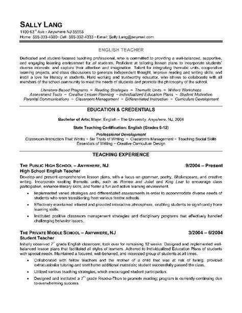 essay of teacher english teacher resume example shows the educator s