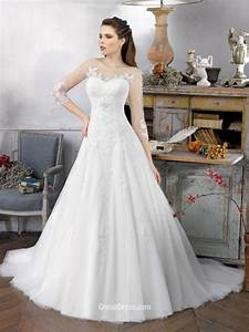 vintage organza ballgown wedding dress with illusion With illusion neckline wedding dress