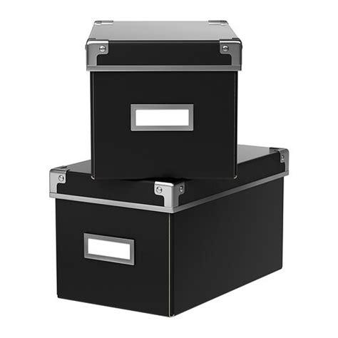 cd box ikea kassett box with lid black 16x26x15 cm ikea