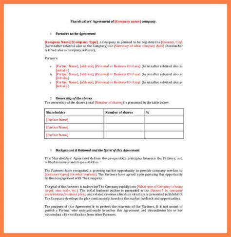 company shareholders agreement template company