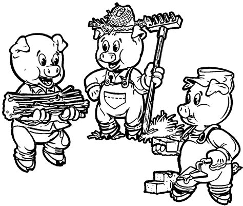 3 Little Pigs Farmers Coloring Page Wecoloringpage com