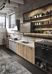 Industiral and rustic loft kitchen by snaidero digsdigs for Kitchen cabinet trends 2018 combined with beauty salon wall art