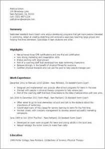Resume Coaching Skills by Professional Assistant Swim Coach Templates To Showcase