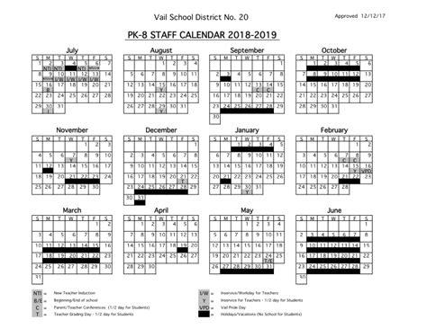 staff calendars vail school district