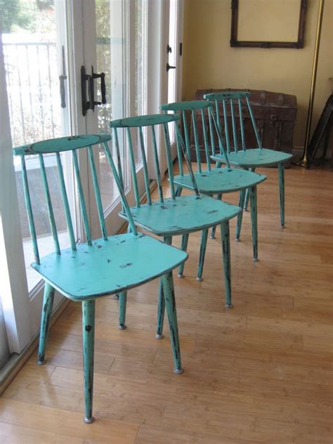 set of 4 modern mid century kitchen chairs up