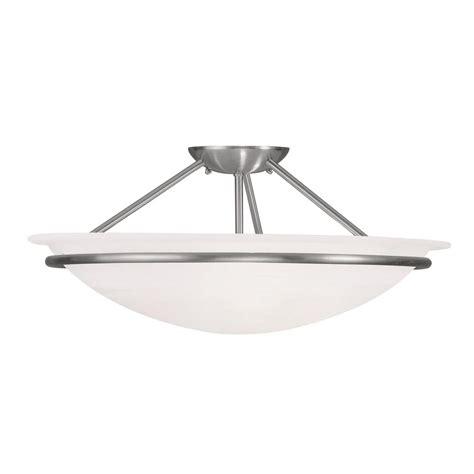 nickel semi flush ceiling lights livex lighting providence 3 light ceiling brushed nickel