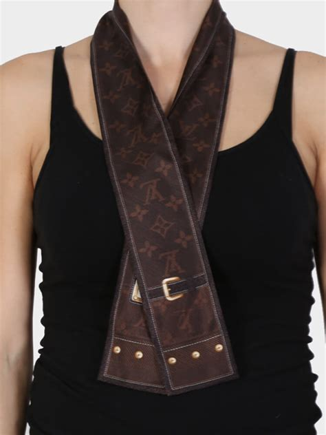 louis vuitton monogram denim silk bandeau brown luxury