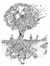 Oak Coloring Zentangle Adults Printable Mycoloring sketch template