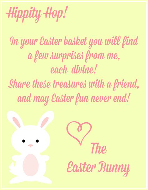 easter printables notes   easter bunny