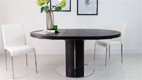 modern round black ash extending dining set trendy black