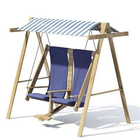 wooden blue garden swing rocker chair 3d model cgtrader