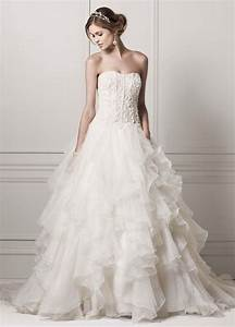 oleg cassini strapless ball gown wedding dress with With organza ruffle wedding dress