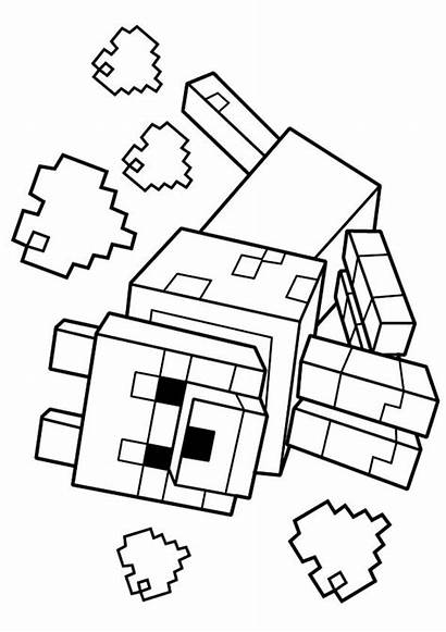Minecraft Coloring Wolf Pages Printable