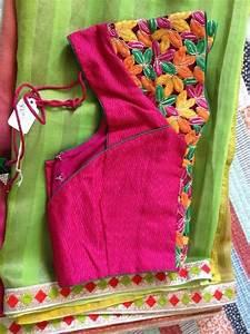 Contrast Blouse Back Neck Design Green Saree With Contrast Pink Blouse Blouse Designs