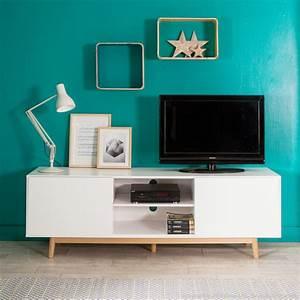 Meuble En Solde : meuble tv 2 portes 2 niches en bois laqu blanc pieds ch ne l180cm jacobson kaligrafik port ~ Teatrodelosmanantiales.com Idées de Décoration