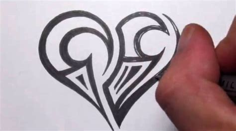 drawing a simple tribal maori heart tattoo design doovi