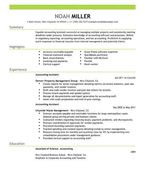 Account Profile Resume by Best Accounting Assistant Resume Exle Livecareer
