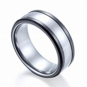 High polished womens mens wedding band tungsten ring for Womens ceramic wedding rings