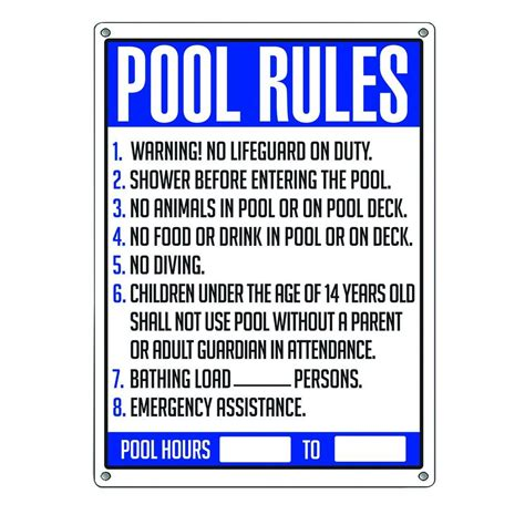Poolmaster Pool Rules Sign40326  The Home Depot